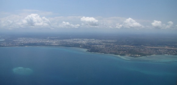 First sighting of  Stone Town from the air.