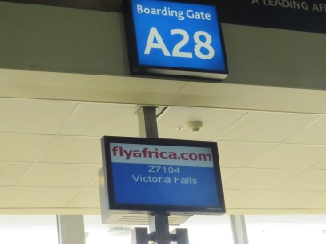 A welcome sign that assured me we were on our way  ...Passenger nuber 1 and 2 were leaving for Victoria Falls ...