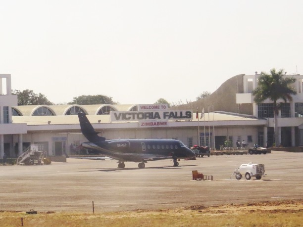 Coming in for landing at Victoria Falls International Airport