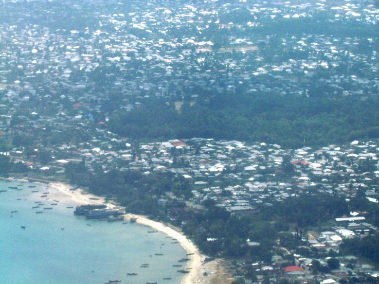 Our first view of Stone Town from the air